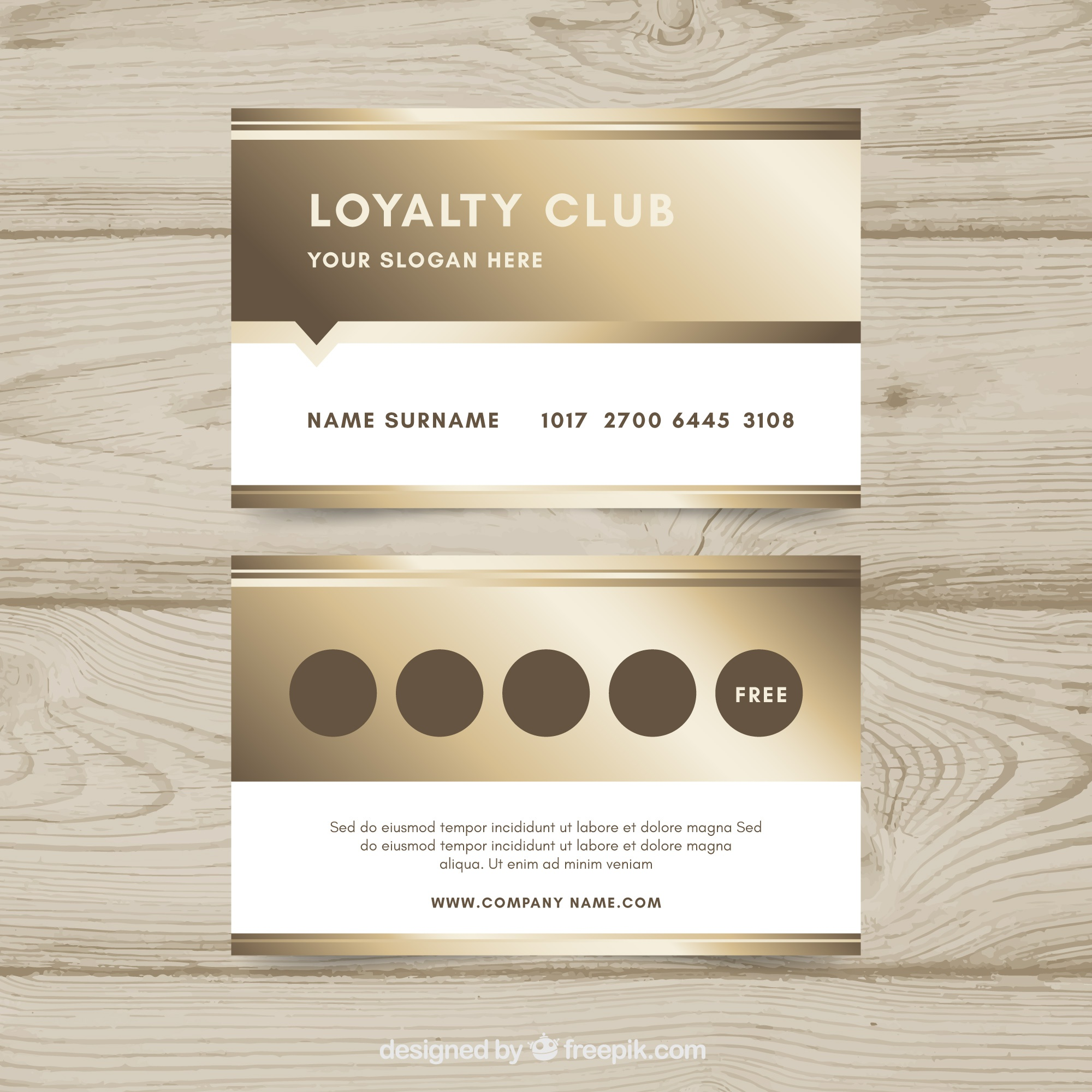 Luxury loyalty card template with golden style