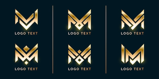 Luxury m logo set