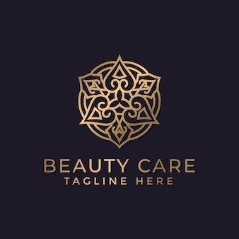 豪華な曼荼羅と金色の装飾ロゴデザインテンプレート