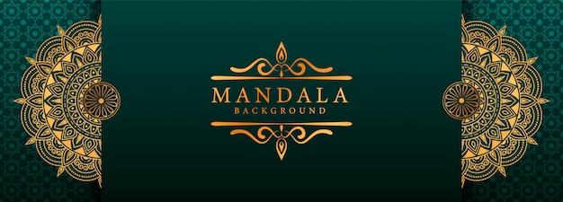 Luxury mandala arabesque web banner style background  a