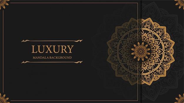 Luxury mandala art background with golden arabesque pattern arabic east style