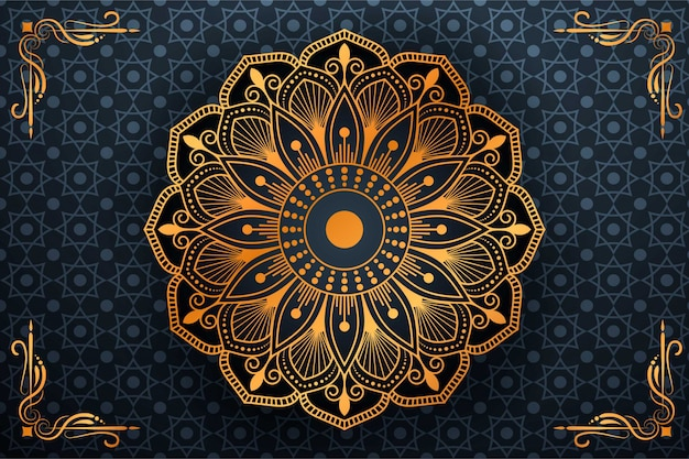 Luxury mandala art with background arabic islamic style