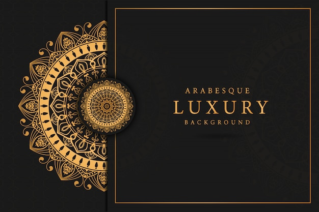 Luxury mandala art  with golden arabesque  arabic islamic