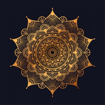 Luxury mandala art with golden arabesque background arabic islamic east style