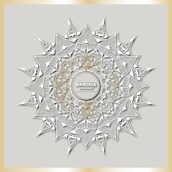 Роскошное искусство мандалы с золотым фоном арабески