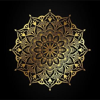 Luxury mandala art with golden arabesque illustration