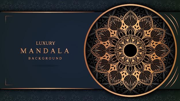 Luxury mandala art with golden background east style 10