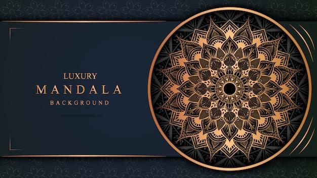 Luxury mandala art with golden background east style 1