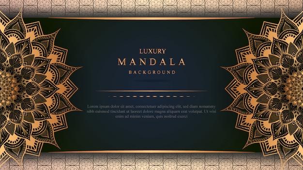Luxury mandala art with golden background east style 3
