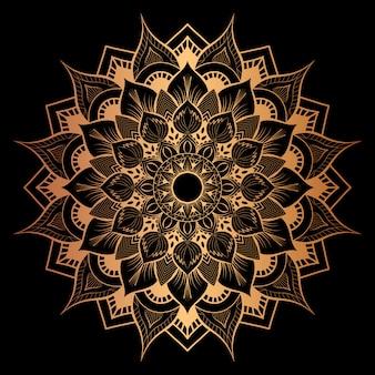 Luxury mandala art with golden background east style 5