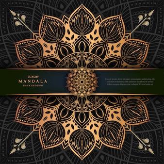 Luxury mandala art with golden background east style 7