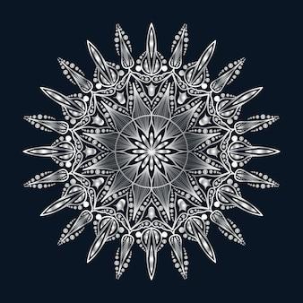 Luxury mandala art with silver arabesque background arabic islamic east style