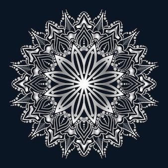Роскошное искусство мандалы с серебряным фоном арабески арабский исламский восточный стиль
