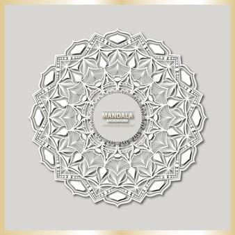 Luxury mandala art with white arabesque background