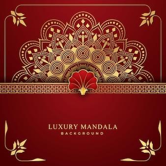Роскошный фон мандалы с золотым и красным узором арабески комбинации
