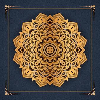 황금 당초 패턴 아랍어 이슬람 이스트 스타일 프리미엄 벡터와 고급 만다라 배경