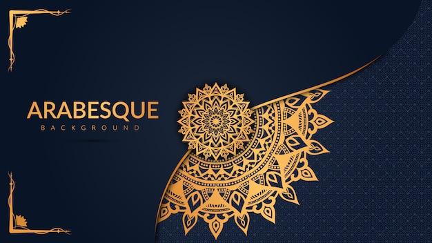 Роскошный фон мандалы с золотым узором арабески арабский исламский восточный стиль