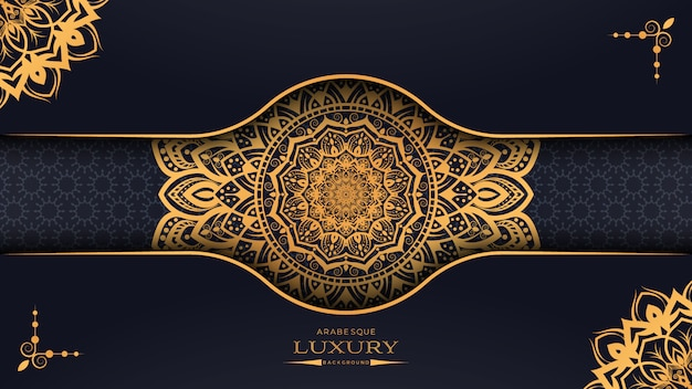 Luxury mandala background with golden arabesque pattern arabic islamic east style