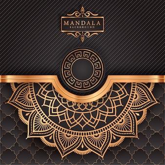황금 당초 패턴 아랍어 이슬람 이스트 스타일 럭셔리 만다라 배경