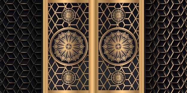 Роскошный фон мандалы с золотым узором арабески арабский исламский восток векторные иллюстрации