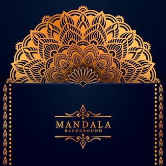 Роскошный фон мандалы с золотым узором арабески в восточном стиле