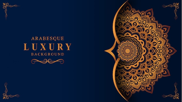 Luxury mandala background with golden arabesque