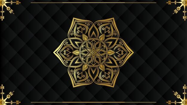 황금 당초 무늬 럭셔리 만다라 배경