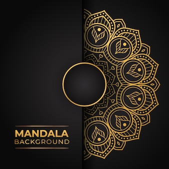 Luxury mandala background with golden color