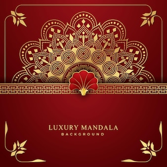 Luxury mandala background with golden and red combination arabesque pattern