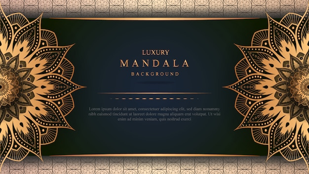 Luxury mandala banner with gold decoration