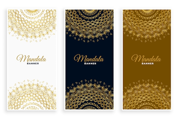 Luxury mandala decorative card set in golden colors