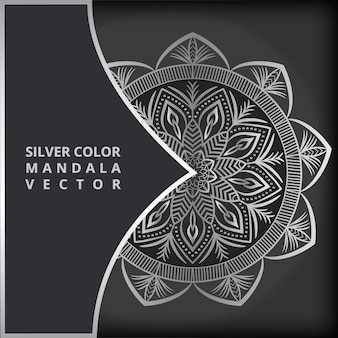 Luxury mandala drawing template in silver color mandala illustration vector background
