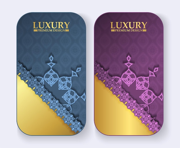 Luxury mandala greeting card in gold