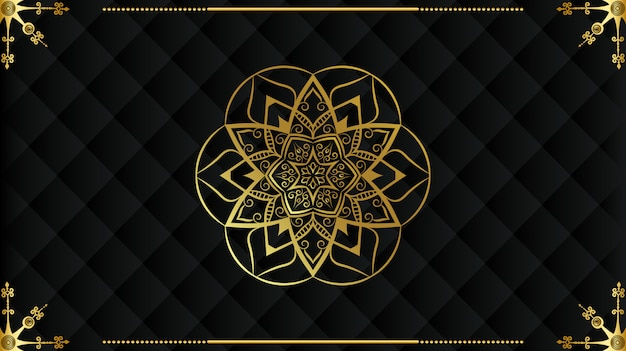 Luxury mandala islamic arabesque design background in gold color