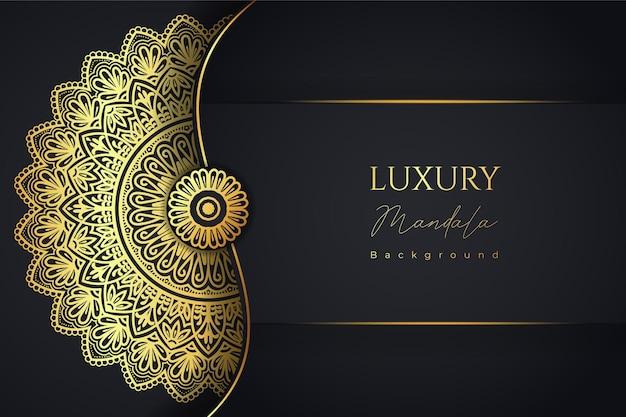 Luxury mandala islamic background design in gold color