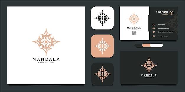 Роскошный логотип мандалы и визитка premium векторы