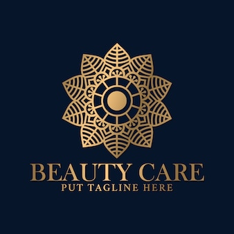 ビューティースパとマッサージケアビジネスのための豪華な曼荼羅のロゴデザインテンプレート。