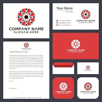 Роскошный дизайн логотипа мандалы и визитная карточка премиум-класса