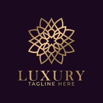 コーポレートアイデンティティをブランド化するための豪華な曼荼羅装飾ロゴデザインテンプレート