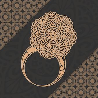 황금 아랍 이슬람 스타일 라마단 스타일 장식 럭셔리 만다라 반지 패턴 배경