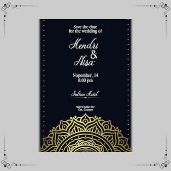 豪華な曼荼羅の結婚式の招待状のテンプレート。