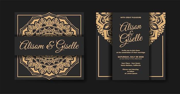 Luxury mandala wedding invitation template