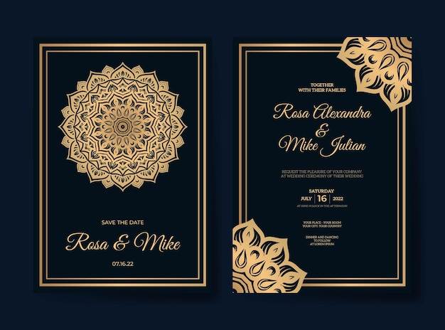 Роскошный шаблон свадебного приглашения мандалы