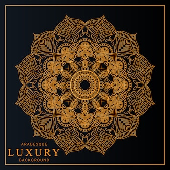 Luxury mandala with golden arabesque pattern arabic islamic style premium vector