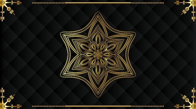 Роскошная мандала с золотой арабеской узором арабского королевского исламского стиля