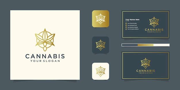 Luxury marijuana leaf logo design concept line and business card