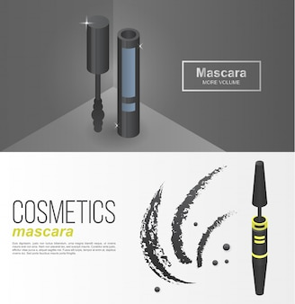 Luxury mascara banner set, isometric style