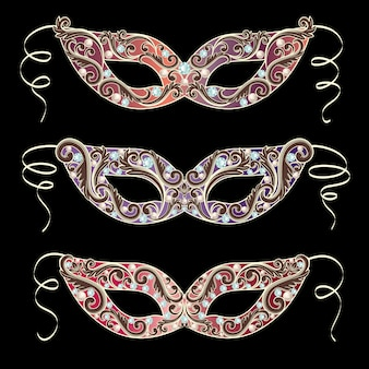 Luxury masquerade mask set collection