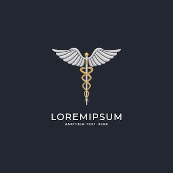 Luxury medical caduceus  logo design