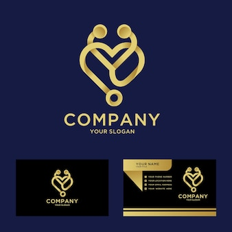 Luxury medical hospital logo template for company with business card